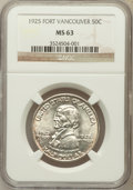 Commemorative Silver: , 1925 50C Vancouver MS63 NGC. NGC Census: (273/1698). PCGSPopulation (702/2001). Mintage: 14,994. Numismedia Wsl. Pricefor...