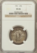 Standing Liberty Quarters: , 1921 25C VF25 NGC. NGC Census: (23/542). PCGS Population (48/832).Mintage: 1,916,000. Numismedia Wsl. Price for problem fr...