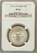Commemorative Silver: , 1936-S 50C Columbia MS66 NGC. NGC Census: (609/124). PCGSPopulation (482/88). Mintage: 8,007. Numismedia Wsl. Price forpr...