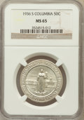Commemorative Silver: , 1936-S 50C Columbia MS65 NGC. NGC Census: (530/733). PCGSPopulation (701/570). Mintage: 8,007. Numismedia Wsl. Price forp...
