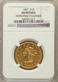 Liberty Eagles, 1847 $10 -- Improperly Cleaned -- NGC Details. AU. NGC Census:(119/510). PCGS Population (80/137). Mintage: 862,258. N...