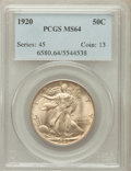 Walking Liberty Half Dollars: , 1920 50C MS64 PCGS. PCGS Population (357/94). NGC Census: (247/45).Mintage: 6,372,000. Numismedia Wsl. Price for problem f...