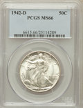 Walking Liberty Half Dollars: , 1942-D 50C MS66 PCGS. PCGS Population (1106/136). NGC Census:(865/140). Mintage: 10,973,800. Numismedia Wsl. Price for pro...