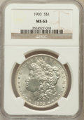 Morgan Dollars: , 1903 $1 MS63 NGC. NGC Census: (2189/7187). PCGS Population(2791/8281). Mintage: 4,652,755. Numismedia Wsl. Price for probl...