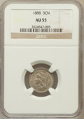 Three Cent Nickels, 1888 3CN AU55 NGC. NGC Census: (9/221). PCGS Population (17/290).Mintage: 36,500. Numismedia Wsl. Price for problem free N...