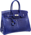 Luxury Accessories:Bags, Hermes 35cm Shiny Blue Electric Porosus Crocodile Birkin Bag with Palladium Hardware. ...
