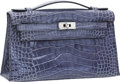 Luxury Accessories:Bags, Hermes Shiny Blue Brighton Alligator Kelly Pochette Bag withPalladium Hardware. ...