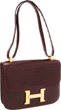 Luxury Accessories:Bags, Hermes 23cm Shiny Burgundy Porosus Crocodile Constance Bag withGold Hardware. ...