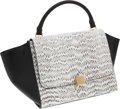 Luxury Accessories:Bags, Celine Black & White Snakeskin and Leather Trapeze Bag. ...