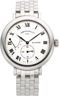 Timepieces:Wristwatch, Eberhard & Co. 8 Jours Large Steel Wristwatch With Wind Indicator. ...
