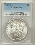Morgan Dollars: , 1888-O $1 MS65 PCGS. PCGS Population (1753/215). NGC Census:(1328/42). Mintage: 12,150,000. Numismedia Wsl. Price for prob...