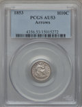 Seated Half Dimes: , 1853 H10C Arrows AU53 PCGS. PCGS Population (49/808). NGC Census:(23/966). Mintage: 13,210,020. Numismedia Wsl. Price for ...