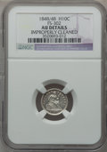 Seated Half Dimes: , 1848/48 H10C Medium Date -- Improperly Cleaned -- NGC Details. AU.FS-302. NGC Census: (2/76). PCGS Population (4/55). Min...