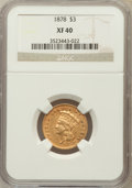 Three Dollar Gold Pieces: , 1878 $3 XF40 NGC. NGC Census: (27/5037). PCGS Population (47/5501).Mintage: 82,304. Numismedia Wsl. Price for problem free...