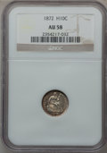 Seated Half Dimes: , 1872 H10C AU58 NGC. NGC Census: (44/277). PCGS Population (58/265).Mintage: 2,947,950. Numismedia Wsl. Price for problem f...