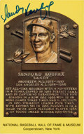 Autographs:Sports Cards, Signed Sandy Koufax Gold Hall of Fame Plaque. ...