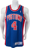 Basketball Collectibles:Uniforms, 1992-93 Joe Dumars Game Worn Detroit Pistons Jersey....