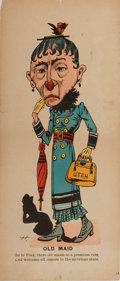 """Books:Americana & American History, [Americana]. Anti-Mormon(?) Lithographed Satirical Cartoon.Entitled, """"Old Maid."""" Measures 7.75 x 18 inches. A few creases a..."""