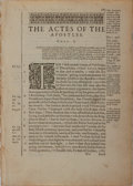 Books:Prints & Leaves, [Rheims Bible]. Single Leaf from the Book of Acts. 1582. Measures8.75 x 6.25 inches. Very good....
