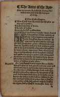 Books:Prints & Leaves, [Tyndale Bible]. Single Leaf from the Book of Acts. 1535. Measures6.25 x 3.75 inches. Very good....