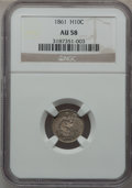 Seated Half Dimes: , 1861 H10C AU58 NGC. NGC Census: (47/419). PCGS Population (32/331).Mintage: 3,361,000. Numismedia Wsl. Price for problem f...