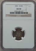 Bust Half Dimes: , 1831 H10C AU50 NGC. NGC Census: (12/644). PCGS Population (53/583).Mintage: 1,200,000. Numismedia Wsl. Price for problem f...