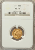 Indian Quarter Eagles: , 1914 $2 1/2 MS63 NGC. NGC Census: (891/469). PCGS Population(577/403). Mintage: 240,000. Numismedia Wsl. Price for problem...