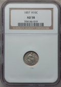 Seated Half Dimes: , 1857 H10C AU58 NGC. NGC Census: (64/624). PCGS Population (56/445).Mintage: 7,280,000. Numismedia Wsl. Price for problem f...
