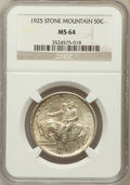 Commemorative Silver: , 1925 50C Stone Mountain MS64 NGC. NGC Census: (2842/3027). PCGSPopulation (3764/3104). Mintage: 1,314,709. Numismedia Wsl....