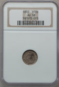 Seated Half Dimes: , 1850 H10C AU58 NGC. NGC Census: (13/180). PCGS Population (14/136).Mintage: 955,000. Numismedia Wsl. Price for problem fre...