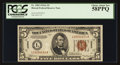 Small Size:World War II Emergency Notes, Fr. 2302 $5 1934A Hawaii Federal Reserve Note. PCGS Choice About New 58PPQ.. ...