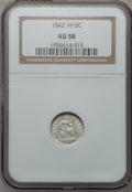 Seated Half Dimes: , 1842 H10C AU58 NGC. NGC Census: (22/117). PCGS Population (15/101).Mintage: 815,000. Numismedia Wsl. Price for problem fre...
