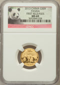 China:People's Republic of China, 2013 China Panda Gold 50 Yuan (1/10th oz), First Releases MS69 NGC. PCGS Population (55/336)....