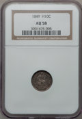 Seated Half Dimes: , 1849 H10C AU58 NGC. NGC Census: (22/75). PCGS Population (11/47).Mintage: 1,309,000. Numismedia Wsl. Price for problem fre...