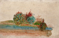 PIERRE-AUGUSTE RENOIR (French, 1841-1919) Paysage Oil on canvas 4 x 6 inches (10.2 x 15.2 cm)