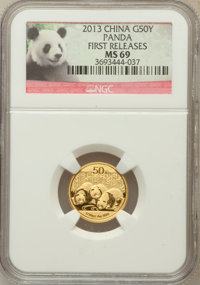 2013 50 Yuan Gold Panda First Releases MS69 NGC. NGC Census: (0/0). PCGS Population (60/344)....(PCGS# 516259)