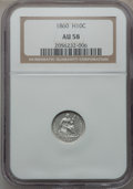 Seated Half Dimes: , 1860 H10C AU58 NGC. NGC Census: (22/424). PCGS Population (23/407).Mintage: 799,000. Numismedia Wsl. Price for problem fre...