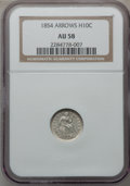 Seated Half Dimes: , 1854 H10C Arrows AU58 NGC. NGC Census: (70/421). PCGS Population(48/300). Mintage: 5,740,000. Numismedia Wsl. Price for pr...