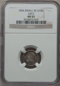 Bust Half Dimes: , 1836 H10C Small 5C AU53 NGC. LM-5. NGC Census: (0/0). PCGSPopulation (6/48)....