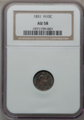 Seated Half Dimes: , 1851 H10C AU58 NGC. NGC Census: (13/113). PCGS Population (6/86).Mintage: 781,000. Numismedia Wsl. Price for problem free ...