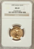 Modern Bullion Coins: , 1999 G$10 Quarter-Ounce Gold Eagle MS69 NGC. NGC Census: (980/73).PCGS Population (1177/11). Numismedia Wsl. Price for pr...