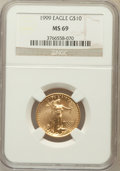 Modern Bullion Coins: , 1999 G$10 Quarter-Ounce Gold Eagle MS69 NGC. NGC Census: (981/73).PCGS Population (1178/11). Numismedia Wsl. Price for pr...