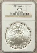 Modern Bullion Coins, 2006 $1 Silver Eagle MS70 NGC. NGC Census: (3854). PCGS Population(502). Numismedia Wsl. Price for problem free NGC/PCGS ...