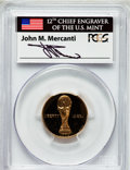 Modern Issues: , 1994-W G$5 World Cup Gold Five Dollar PR69 Deep Cameo PCGS. Ex:Signature of John M. Mercanti, 12th Chief Engraver of the U...