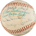 Autographs:Baseballs, Early 1970's Hall of Famers Multi-Signed Baseball...