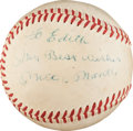 Autographs:Baseballs, Late 1950's Mickey Mantle Single Signed Baseball....