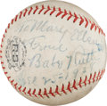 Autographs:Baseballs, 1938 Babe Ruth Single Signed Baseball Dated to Christmas Day....