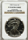 Modern Bullion Coins: , 1998-P $1 Silver Eagle PR70 Ultra Cameo NGC. NGC Census: (1038).PCGS Population (1004). Numismedia Wsl. Price for problem...