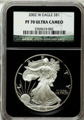 Modern Bullion Coins, 2002-W $1 Silver Eagle PR70 Ultra Cameo NGC. 25th AnniversaryHolder. NGC Census: (3582). PCGS Population (1422). Numismed...