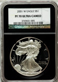 Modern Bullion Coins, 2001-W $1 Silver Eagle PR70 Ultra Cameo NGC. 25th AnniversaryHolder. NGC Census: (3521). PCGS Population (1017). Numismed...